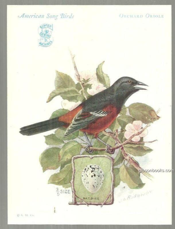 American Song Birds Series Orchard Oriole Trade Card Singer Sewing Machine