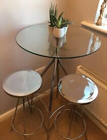 Vintage John Lewis bistro table and 2 stools set in chrome and glass