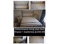 King size Debenhams Bed frame + mattress