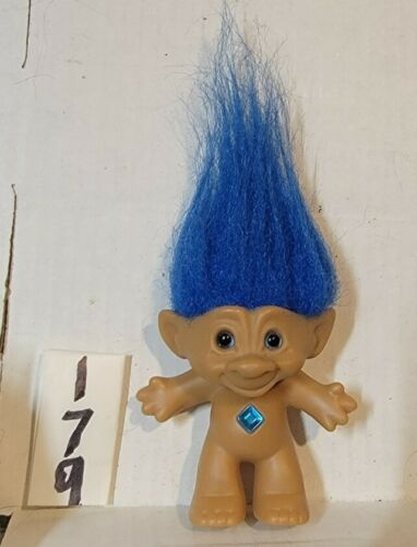 Vintage 3 Ace Novelty Treasure Hair Blue Belly Gem Stone Troll Doll - $13.95