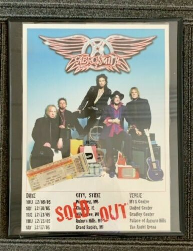 2005 Framed Aerosmith Concert Tour Poster with Ticket for Grand Rapids, MI