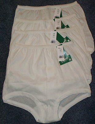 4 Pair 100% COTTON  BAND LEG PANTY Size 5 White Carole USA Made