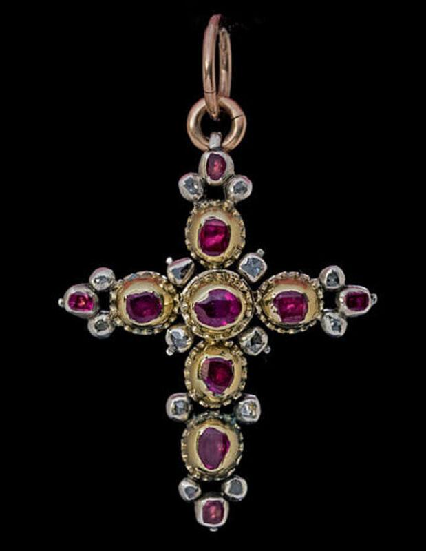 0.50cts ROSE CUT DIAMOND RUBY ANTIQUE VICTORIAN LOOK 925 SILVER CROSS PENDANT