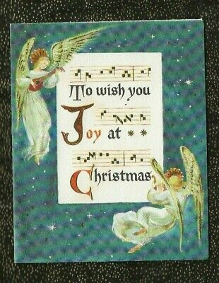 VINTAGE Used HALLMARK Christmas Card ANGELS PLAYING INSTRUMENTS JOY At CHRISTMAS ()