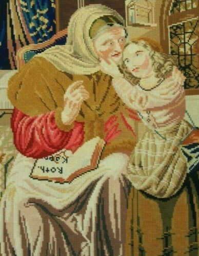 ANTIQUE MID 19TH CENTURY NEEDLEPOINT RED RIDING HOOD MARGARET A. KERESEY c1845