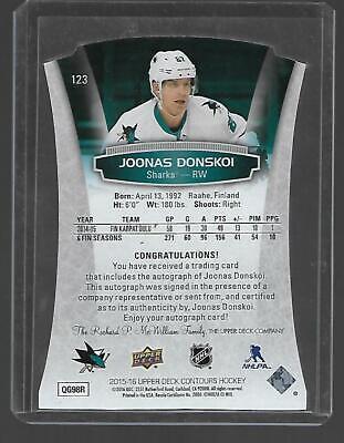 Joonas Donskoi 2015-16 Upper Deck Contours Rookies 432/499 San Jose Sharks