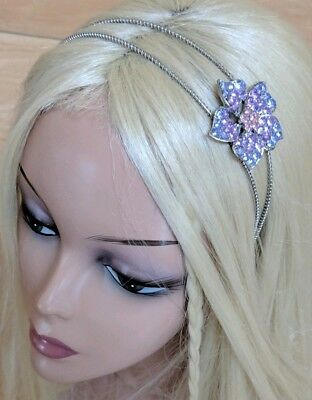 Purple Pink Flower Rhinestone Crystal Tiara Crown Headband Princess Prom Bride -