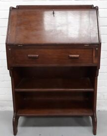 Vintage Oak Student Bureau Writing Desk With Drawer And Book Shelf