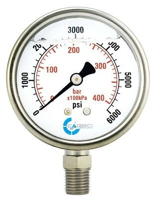 2-12 Pressure Gauge Stainless Steel Case Liquid Filled Lower Mnt 6000 Psi