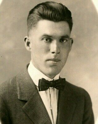 1920s Bow Ties   Gatsby Tie,  Art Deco Tie Vtg Postcard RPPC 1920s AZO - Handsome Young Man in Suit and Bowtie UNP $14.95 AT vintagedancer.com
