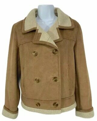 TALBOTS Size Small Camel Faux Suede Coat Machine Washable Double Breasted for sale  Shipping to Nigeria