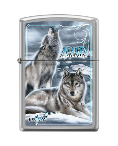 """Zippo 7651,  """"Mazzi-Wolves in Alaska"""" Brushed Chrome Finish Lighter"""