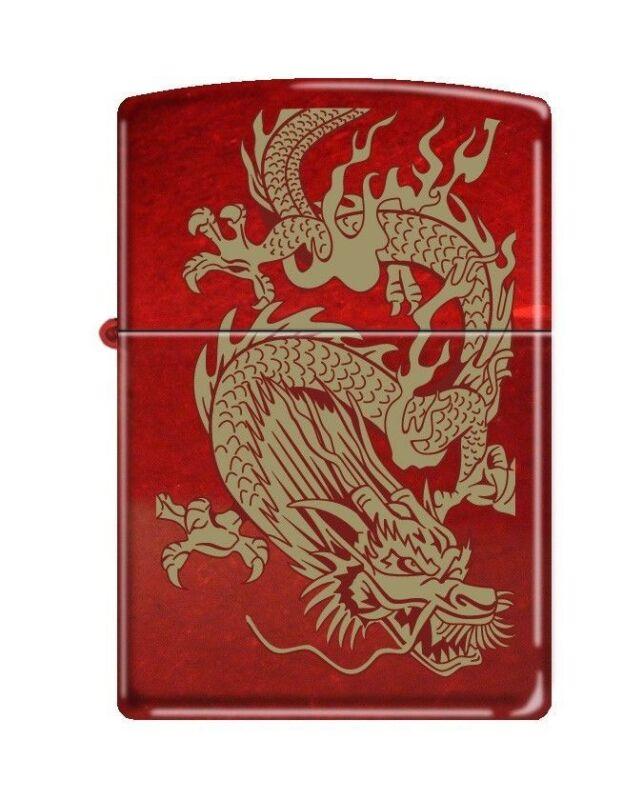 "Zippo 8894,   ""Oriental Dragon"" Candy Apple Red Finish Lighter"