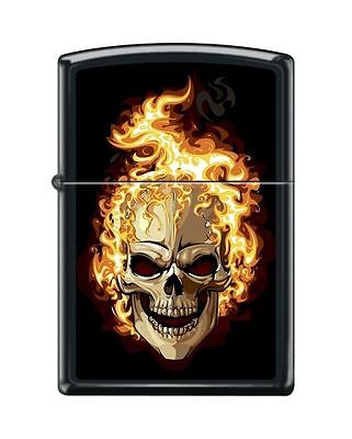 """Zippo """"Flaming Skull"""" Lighter, Black Matte Finish, Full Size, 6114"""