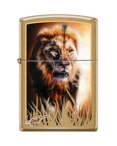 """Zippo 0106, """"Mazzi-Majestic Lion"""" Lighter, Brushed Brass Finish"""
