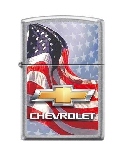 """Zippo 0009,   """"Chevrolet Bowtie Design & Flag"""" Street Chrome Finish Lighter"""