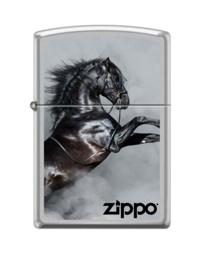 Zippo 1812, Black Horse in Smoke Design, Satin Chrome Finish Lighter