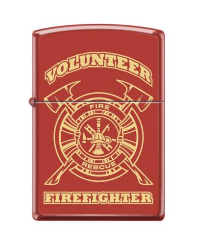 """Zippo 0796, """"Volunteer Firefighter"""" Red Matte Finish Lighter"""