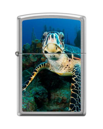 "Zippo 9430,  ""Sea Turtle"" Brushed Chrome Finish Lighter"