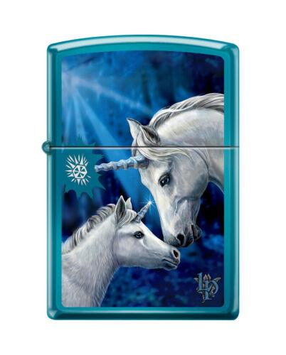 "Zippo 0016,  ""Unicorns"" High Polish Blue Finish Lighter, Lisa Parker"