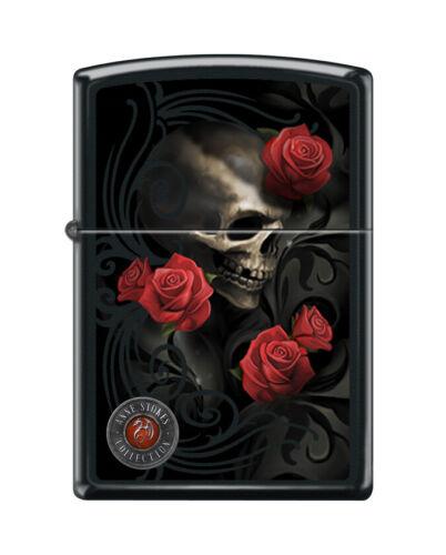"""Zippo 7693,   """"Anne Stokes-Skull and Red Roses"""" Black Matte Lighter"""