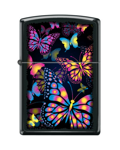 Zippo 1732, Colorful Butterflies, Black Matte Finish Lighter