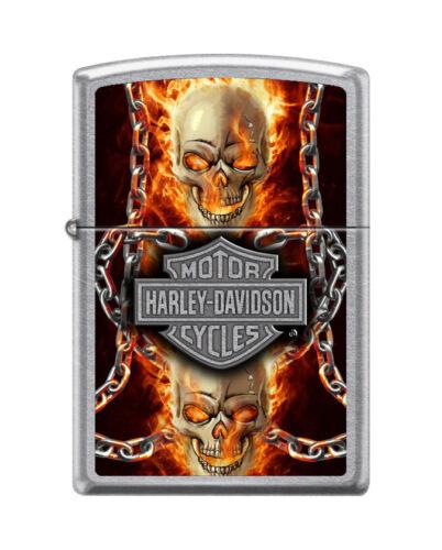 """Zippo 7376, """"Harley Davidson-Skull & Flames"""" Street Chrome Finish Lighter"""