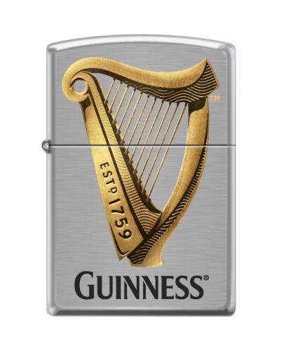 """Zippo 7219,  """"Guinness Beer-Harp Logo"""" Brushed Chrome Lighter"""
