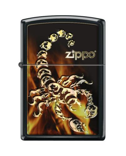 """Zippo 0917,  """"Golden Scorpion Design"""" Black Matte Finish Lighter"""