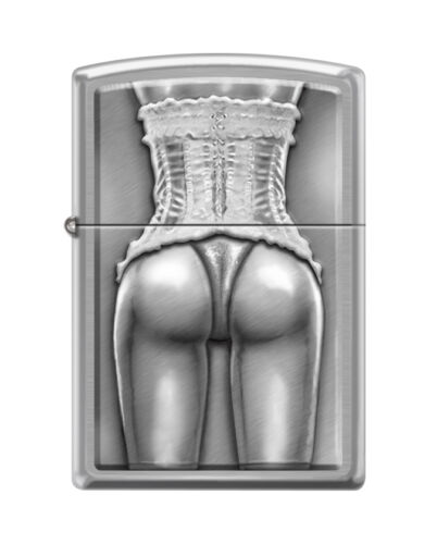 """Zippo 2446,  """"Sexy Woman in Corset"""" Lighter, Brushed Chrome Finish"""
