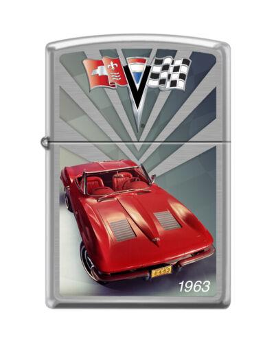 "Zippo 4332,   ""Chevy Corvette Racing"" Brushed Chrome Finish Lighter"