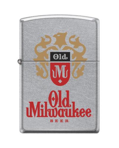 """Zippo 1262,  """"Old Milwaukee Beer"""" Street Chrome Finish Lighter, Full Size"""