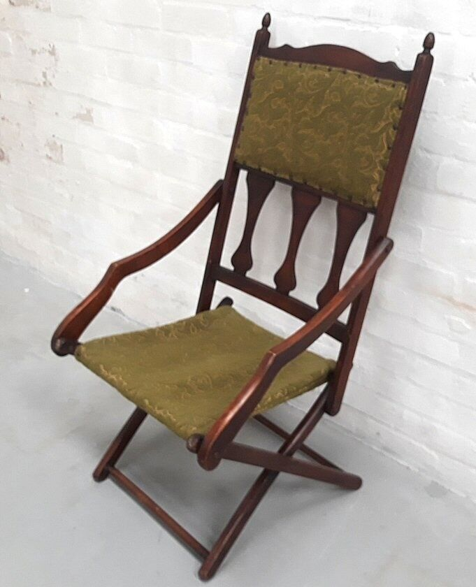 Antique Edwardian Campaign Style Walnut Folding Steamer Chair - Armchair - Antique Edwardian Campaign Style Walnut Folding Steamer Chair