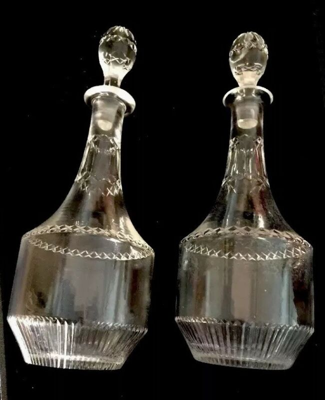"ART DECO Crystal DECANTER SET CUT GLASS CRUET 2 BOTTLES CIRCA 1920  9"" ABP"