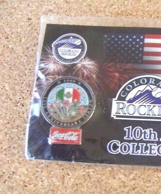 2002 Colorado Rockies Pin  7 Coca Cola King Soopers 10Th Anniversary Year Padres
