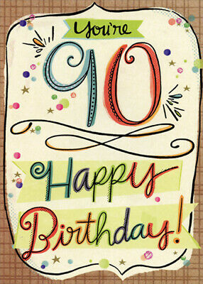 Colorful Letters with Brown Crosshatch Frame Age 90 / 90th Birthday Card