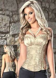 6-8 Beautifully designed shirred satin bust corset elegant brocade side zipper