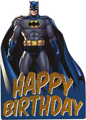 Batman with Blue Cape Die Cut Foil Superhero Paper House Birthday Card For Kids
