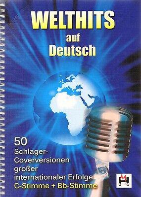 Welthits auf Deutsch 50 Schlager-Cover Noten Gitarre Keyboard Gesang m Bb-Stimme