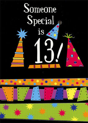 Someone Special Party Hats on Black Background Age 13 / 13th Birthday Card](Black Birthday Party Hats)