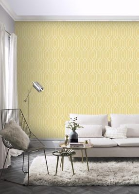 ARTHOUSE GEOMETRIC NEW YORK MUSTARD YELLOW  WHITE QUALITY WALLPAPER 908301