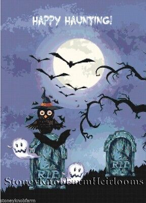 Owl & Little Ghosts ~ Bats, Cemetery,Halloween~ DIY Counted Cross Stitch Pattern - Diy Graveyard Halloween