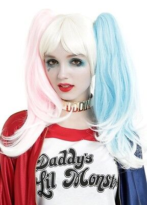 DC Comics Suicide Squad Quinn Wig With Clip On Pony Tails Halloween Cosplay
