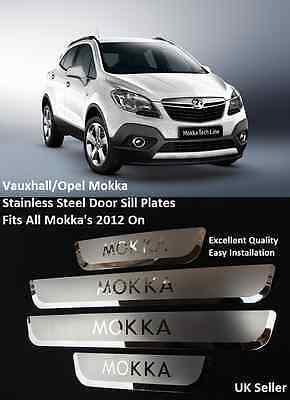 NEW VAUXHALL MOKKA STAINLESS STEEL DOOR SILL SCUFF PLATES 2012 ON - UK SELLER
