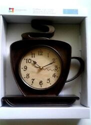Coffee Cafe Latte Wall Clock 10 Coffee Cup Home Kitchen Decor Brown