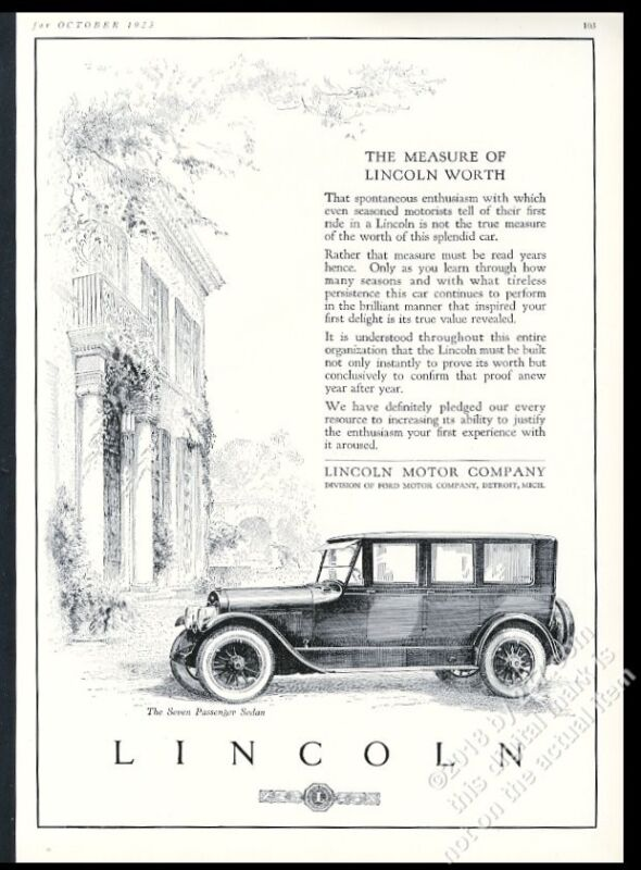 1923 Lincoln car 7 passenger sedan elegant illustration vintage print ad
