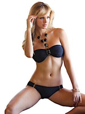 Bikini donna costume da bagno due pezzi fascia spalline gioiello spiaggia mare