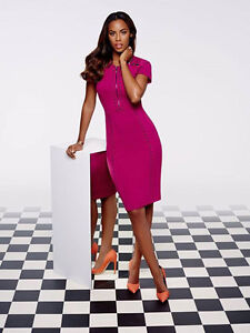 BNWT Rochelle Humes Magenta Berry Stud Detail Pencil Dress Size 14 RRP £74
