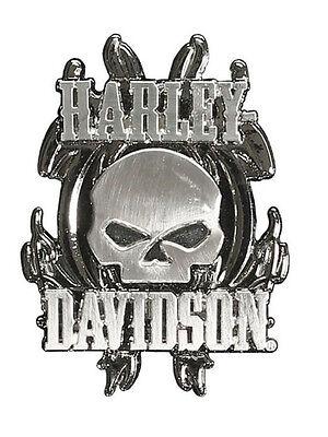 HARLEY DAVIDSON Vicious Skull Satin Nickel Finish Pin ()