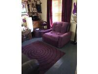 Large purple metal action sofa chair